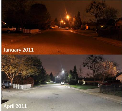 Energy Efficient Streetlights Before and After